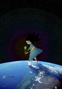 niña sobre planeta tierra