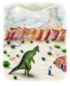 dinosaurio y montañas